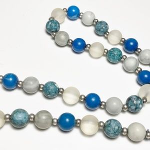 Vintage Beaded Necklace Blue/Gray Stones